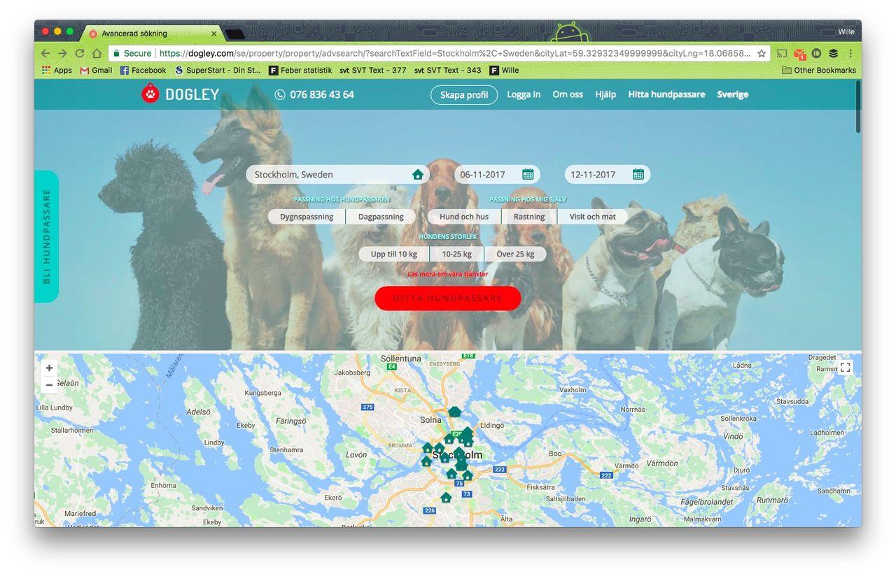 Hitta hundvakter med Dogley