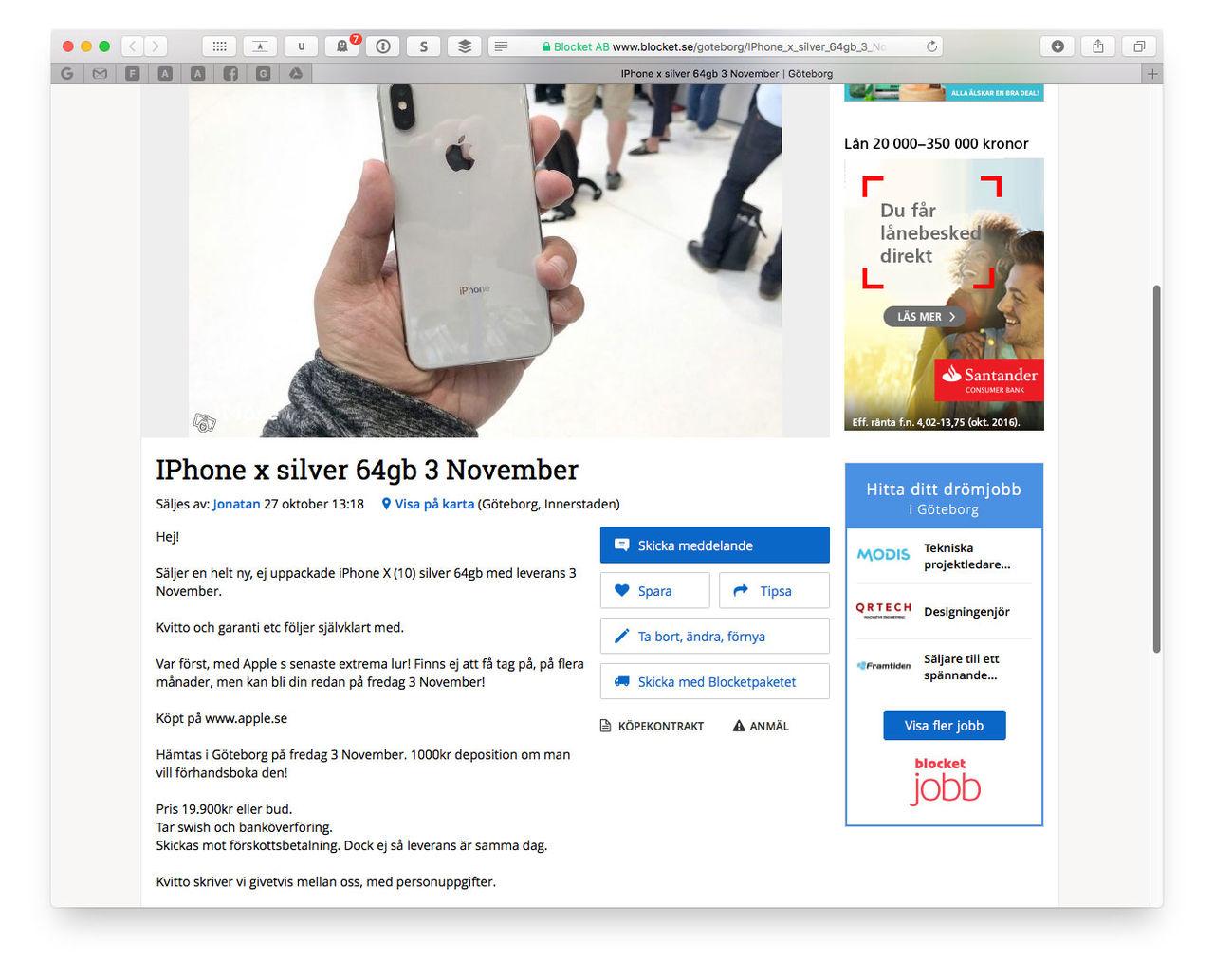 iPhone X redan på Blocket