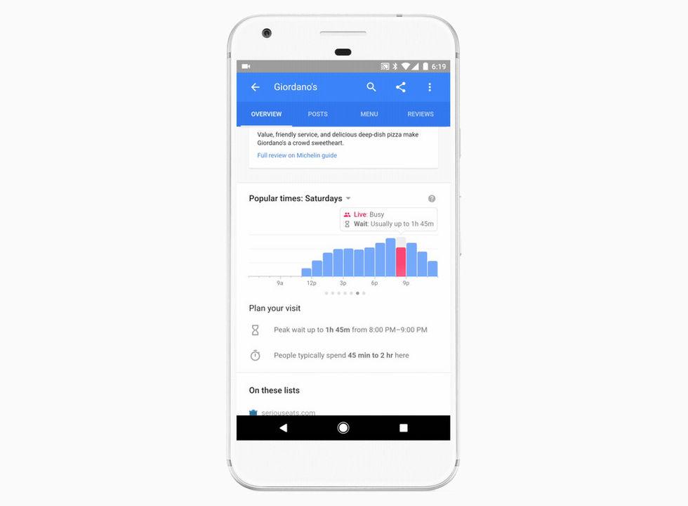 Google börjar visa väntetider på restauranger