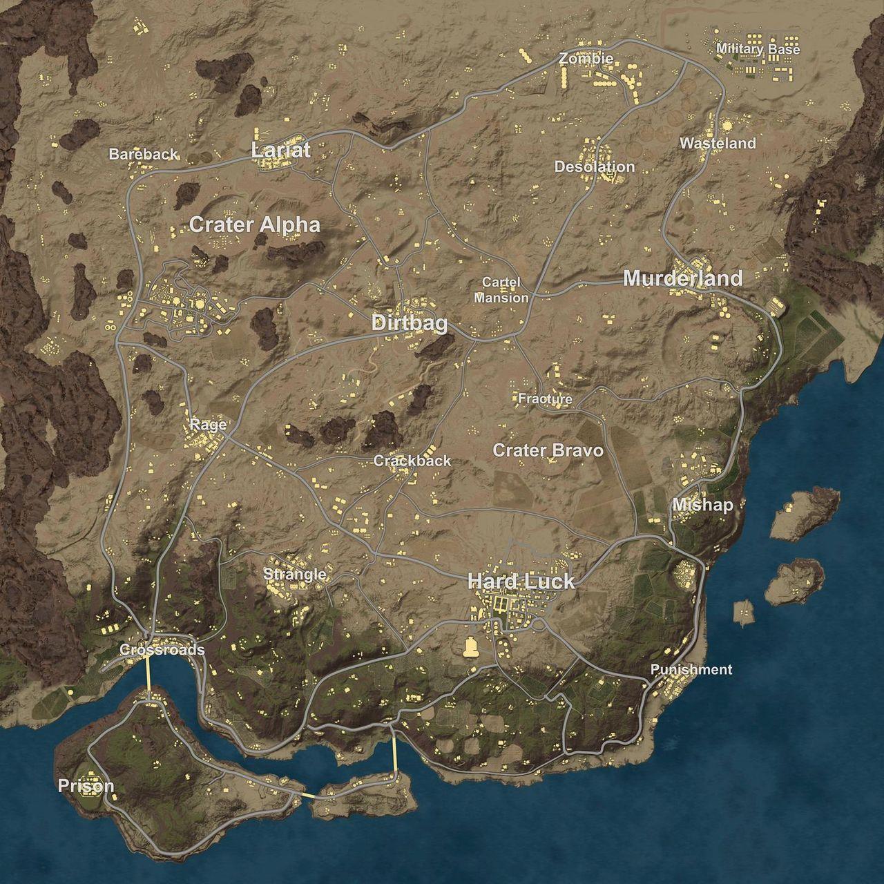 Minimap av ökenkartan till Battlegrounds