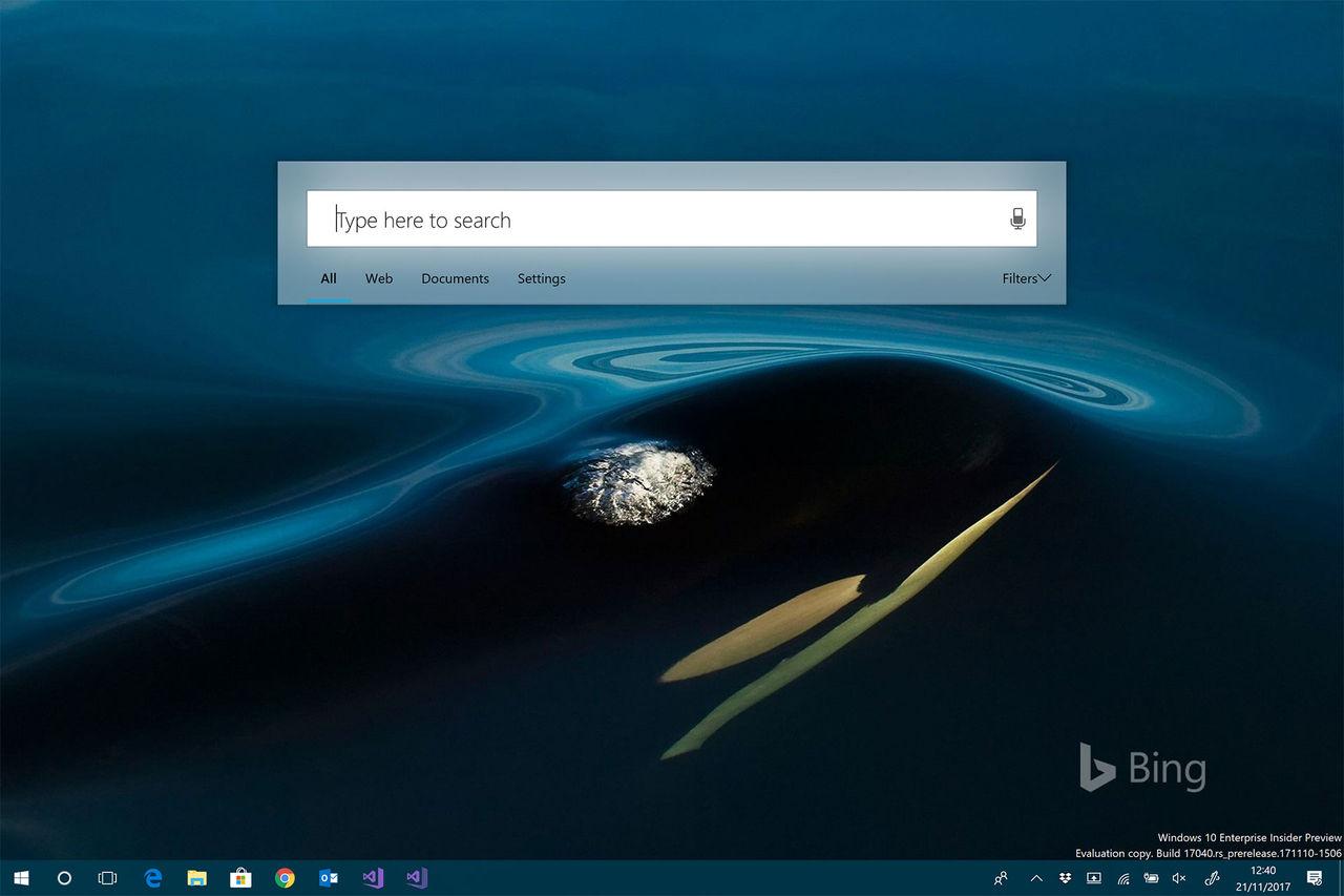Nytt sökgränssnitt testas för Windows 10