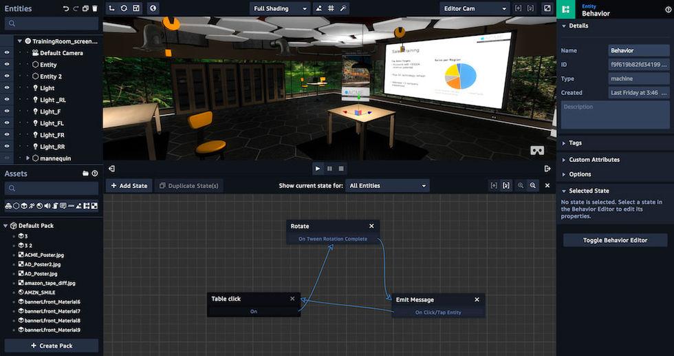 Skapa VR, AR och 3D-appar i Amazons nya tjänst Sumerian