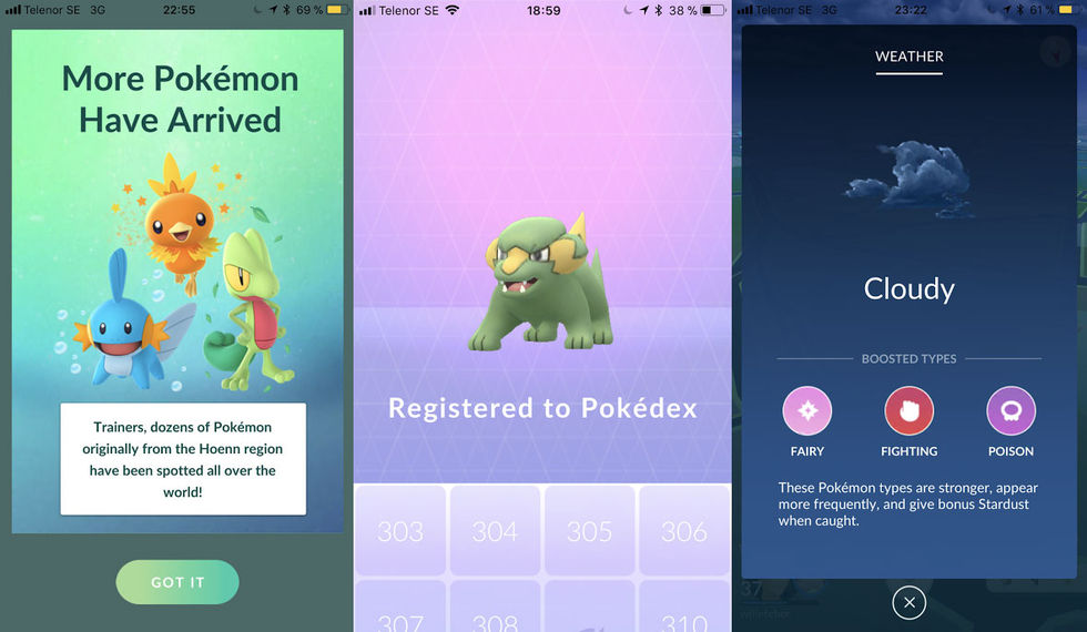 Pokémon Go generation 3 släppt