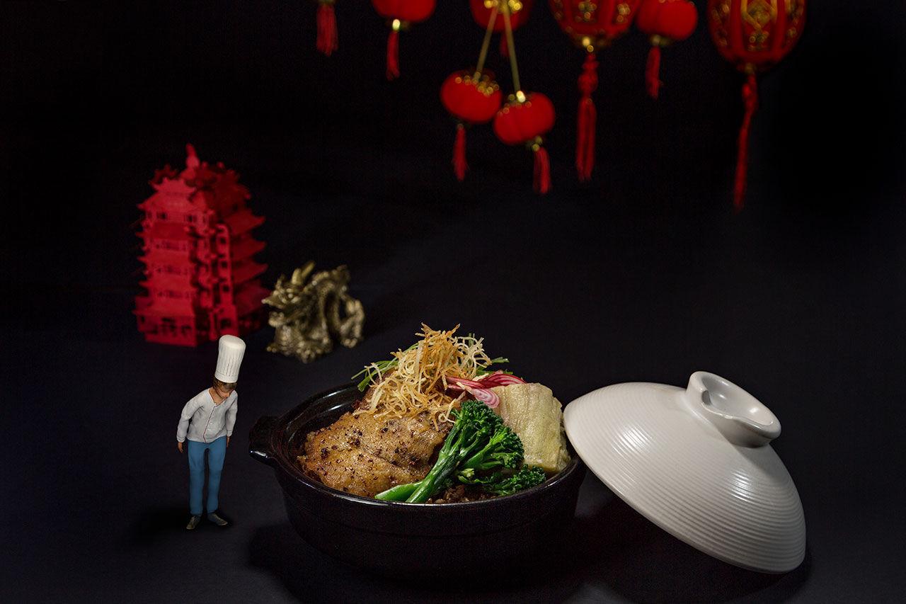 Ät på restaurang med 3D-effekter