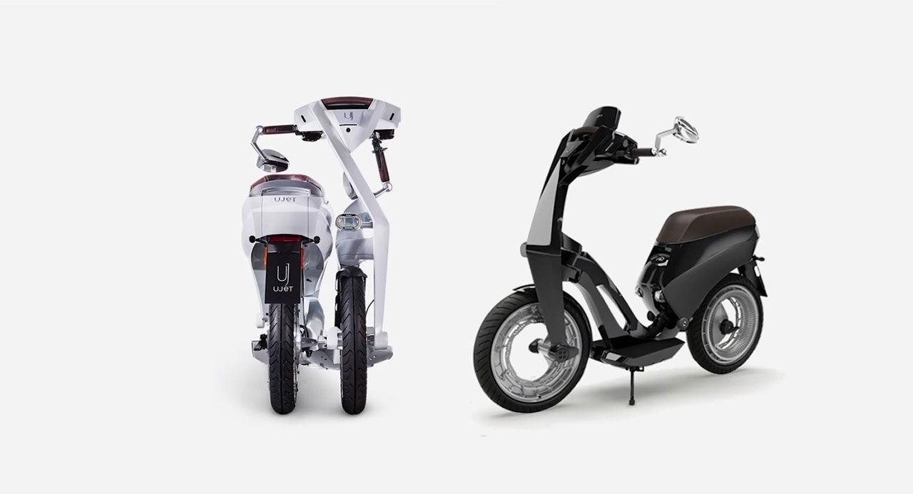 Liten eldriven scooter som går att fälla ihop