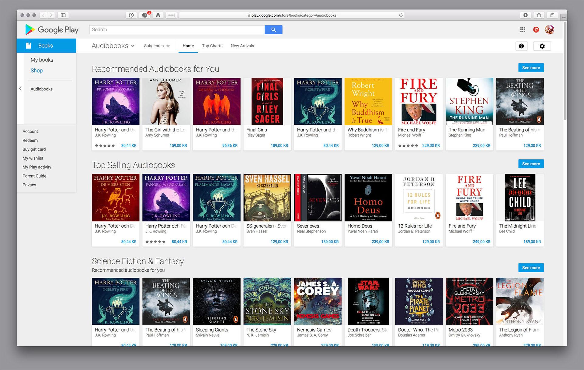 Nu finns det ljudböcker i Google Play Store