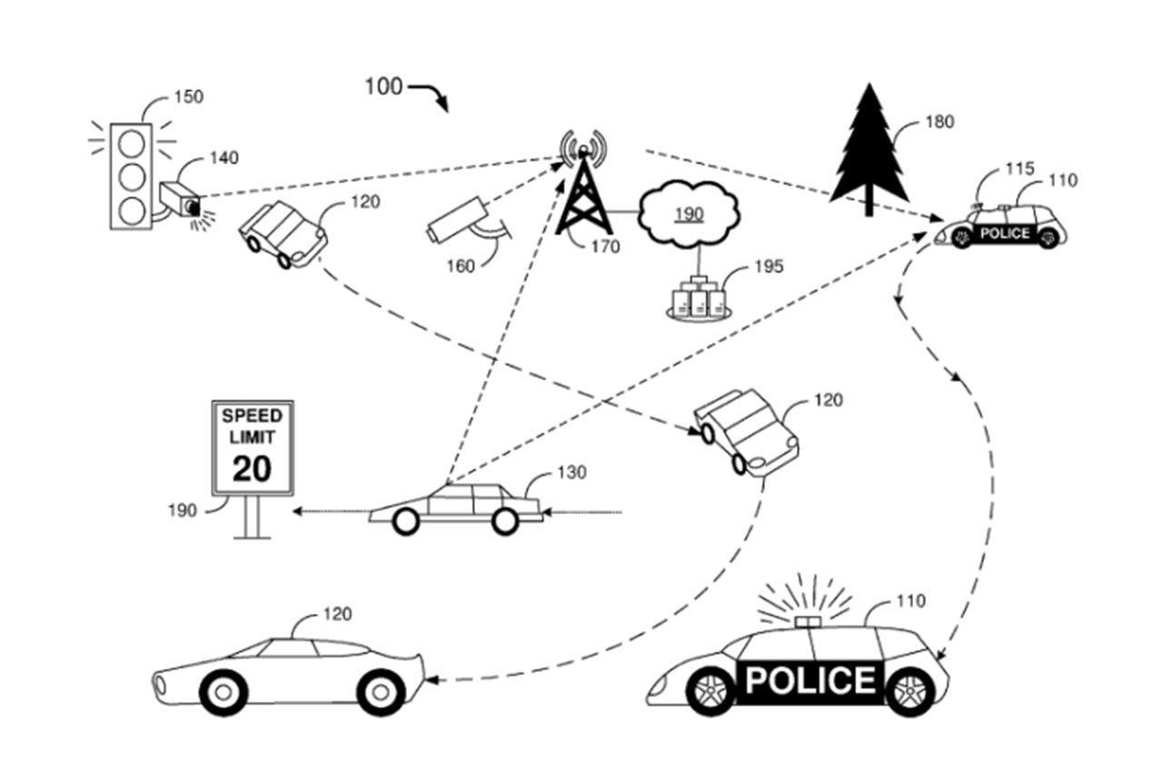 Ford har fått ett patent på självkörande polisbil