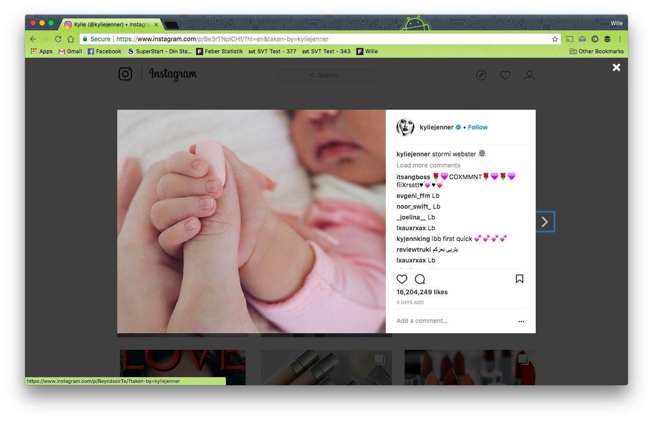 Kylie Jenners bebisbild slår Instagram-rekord