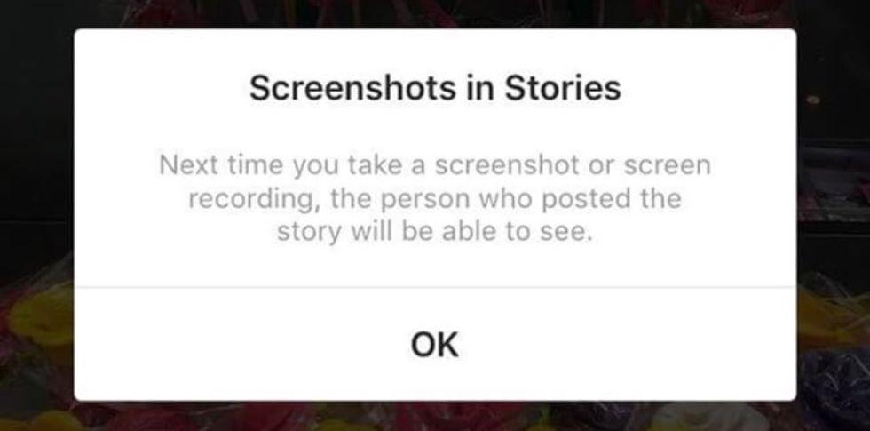 Instagram meddelar om någon skärmdumpar Stories