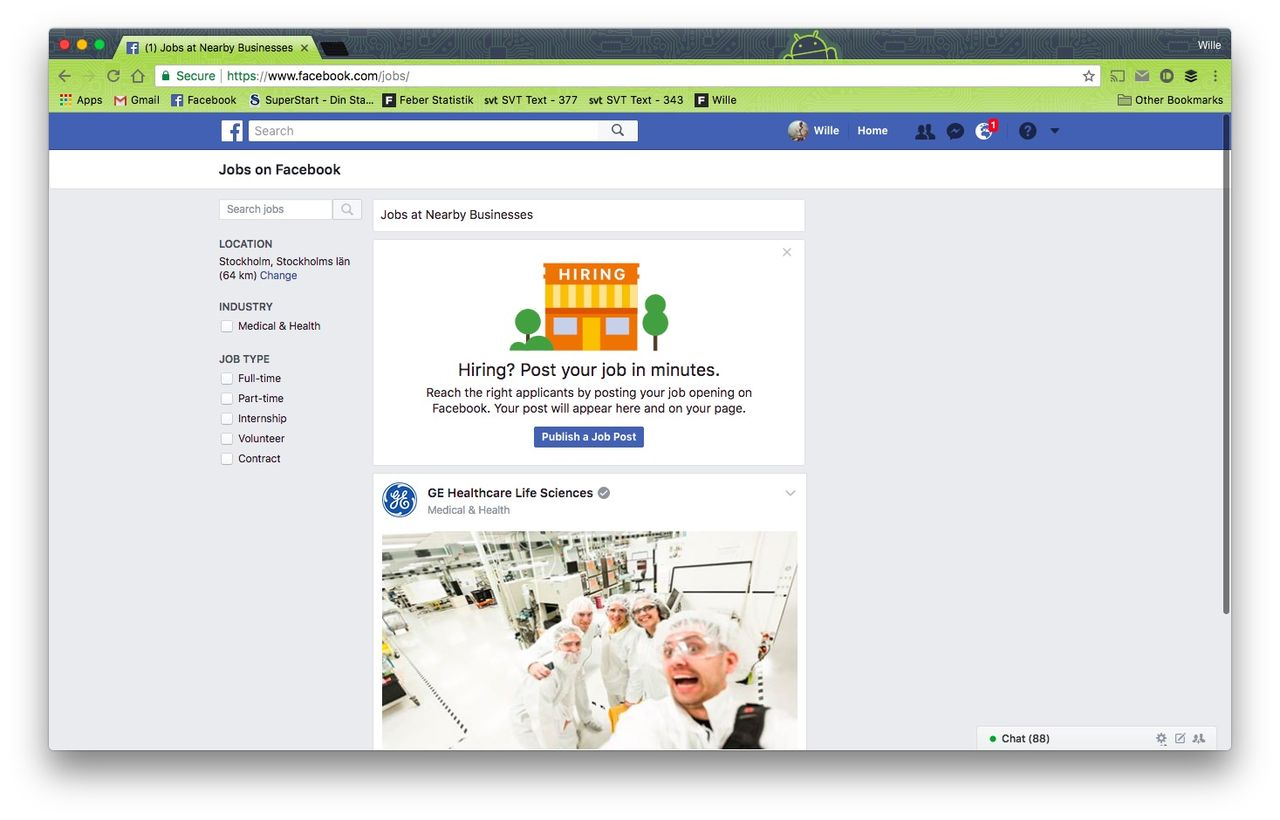 Nu lanseras Facebook Jobs i Sverige