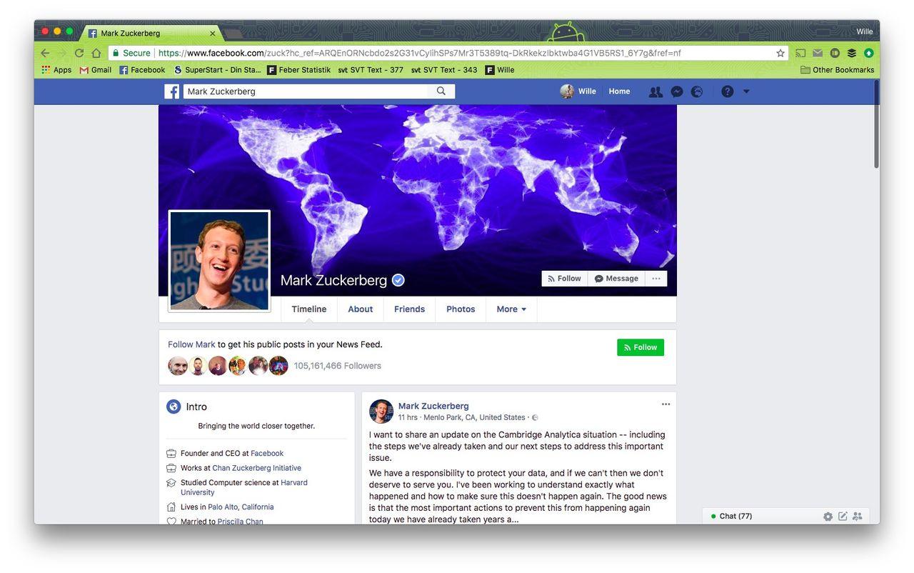 Nu har Zuckerberg kommenterat Facebooks dataskandal