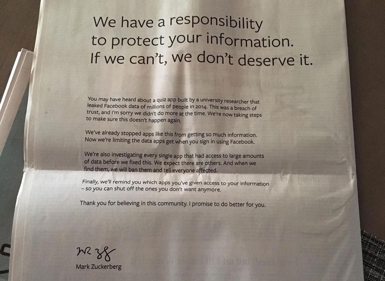 Facebook kör stora annonser i papperstidningar