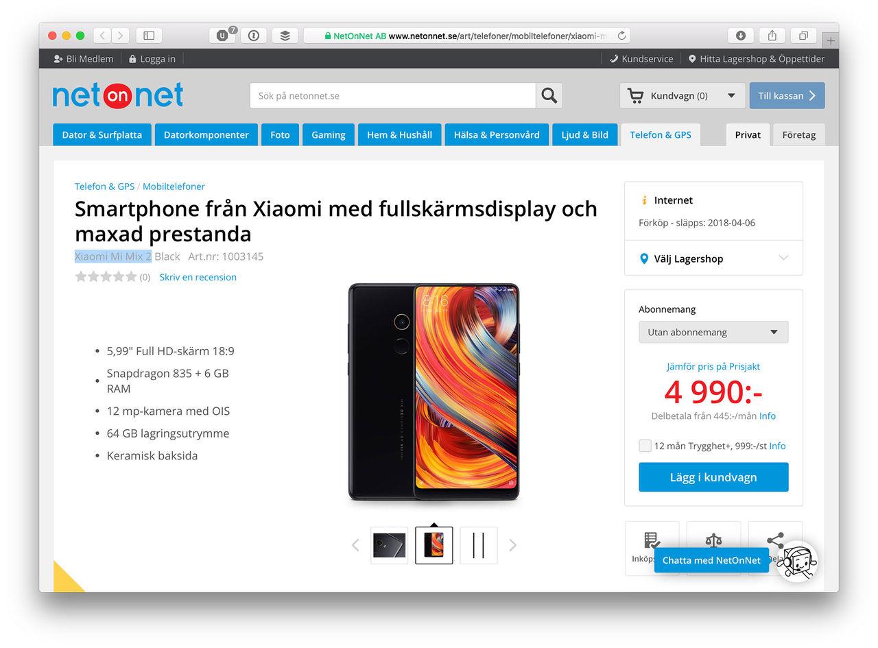 Netonnet och Inet börjar sälja Xiaomi-telefoner