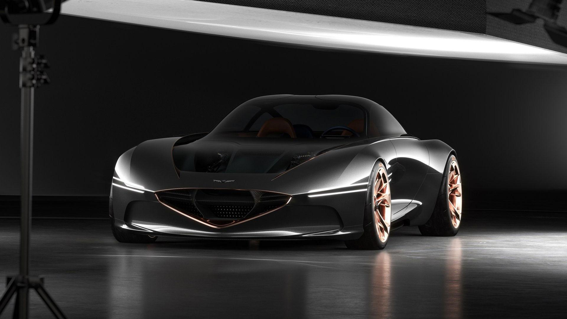 Sportigt elbilskoncept från Hyundai med genomskinlig huv
