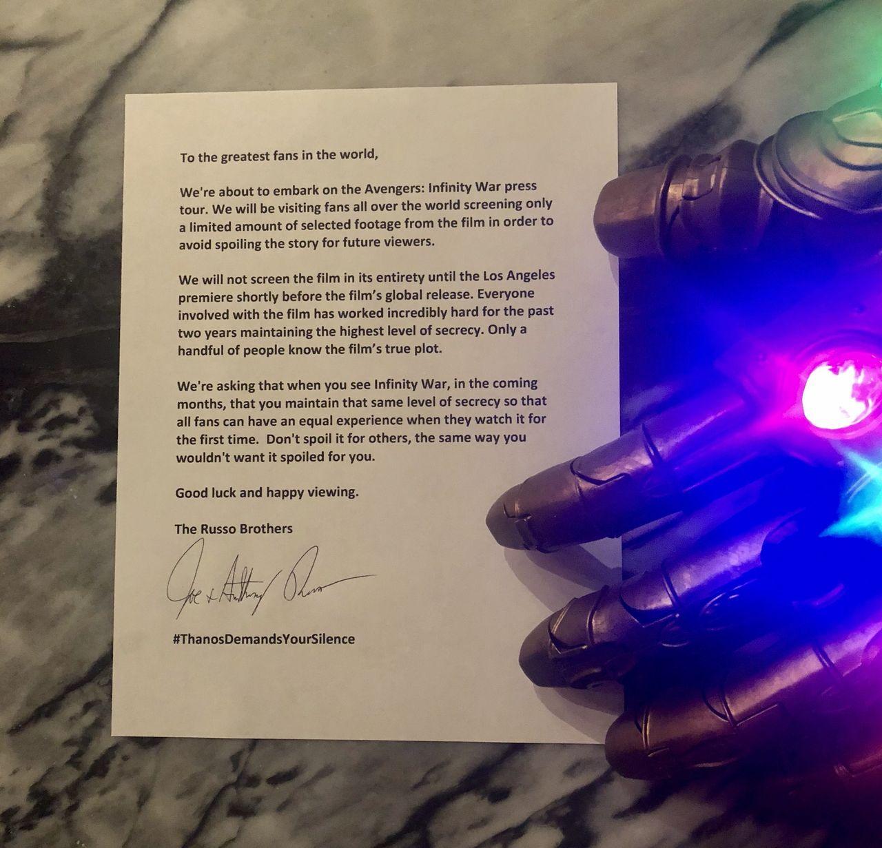 Russo-bröderna ber fans att inte spoila Infinity War
