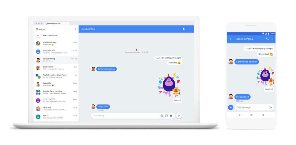 Nu flyttar Android Messages till webben