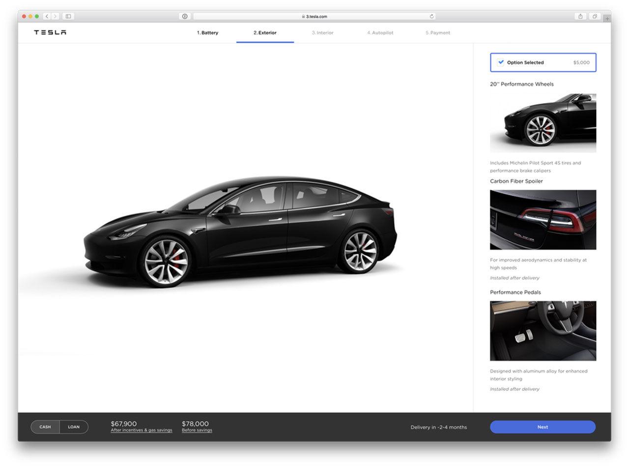 Tesla uppdaterar sin hemsida kring Model 3