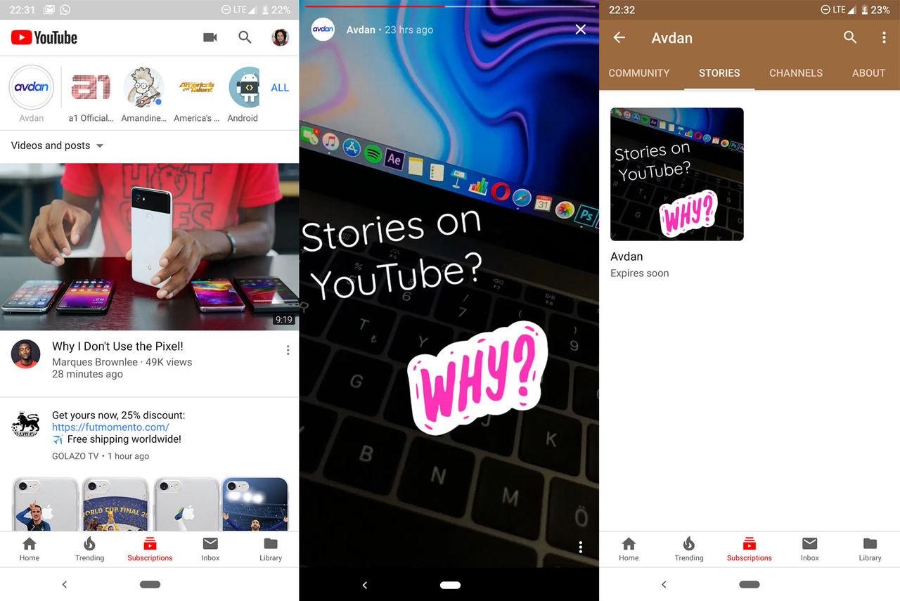 Youtube verkar testa Story-liknande funktion