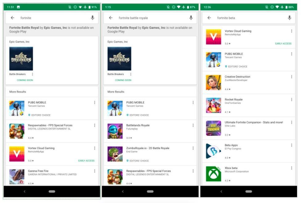 Google upplyser om att Fortnite inte finns på Google Play