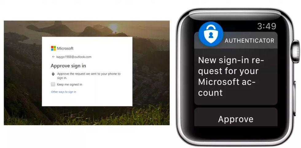 Logga in på ditt Microsoft-konto med en Apple Watch