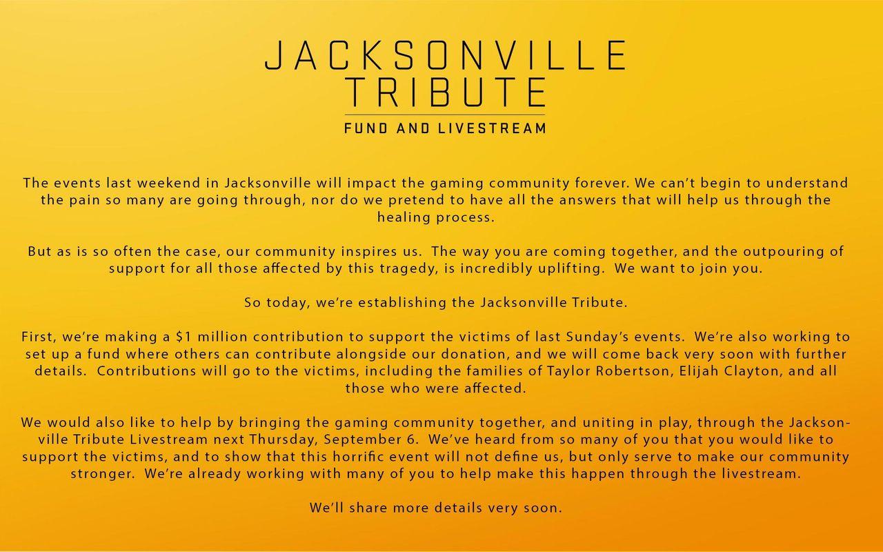 EA skänker en miljon dollar till Jacksonville-offer