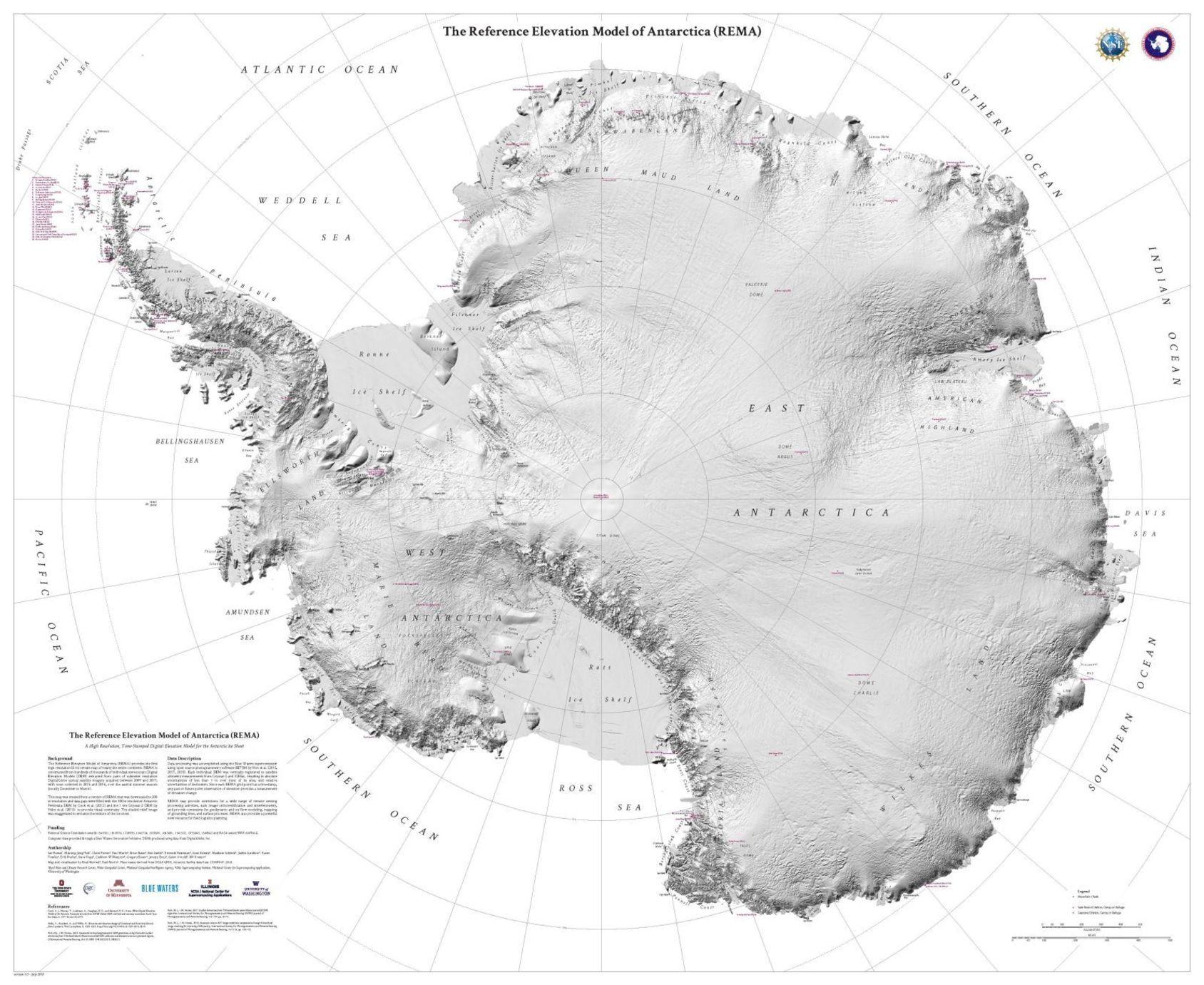 Extremt detaljerad karta över Antarktis