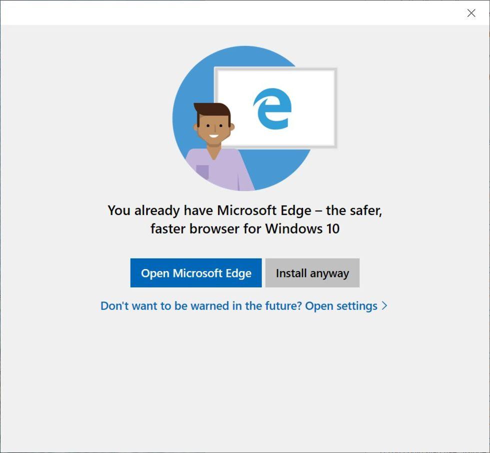 Microsoft vill verkligen att man kör Edge på Windows 10