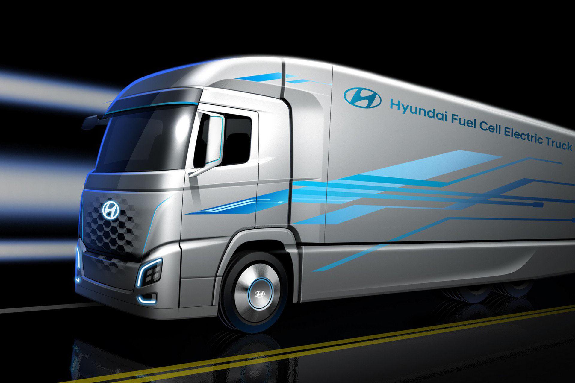 Hyundai släpper skiss på bränslecellsdriven lastbil