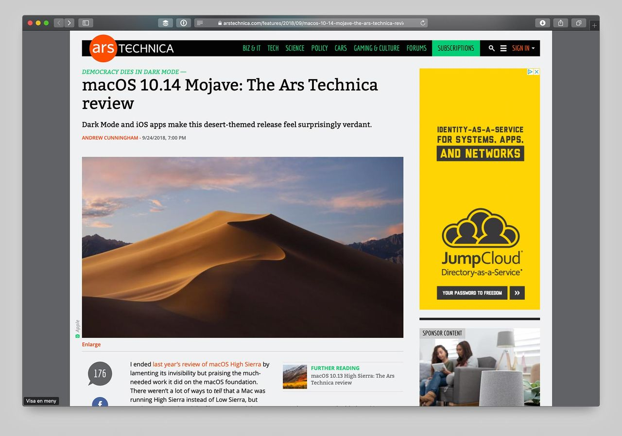 Ars Technica recenserar macOS Mojave