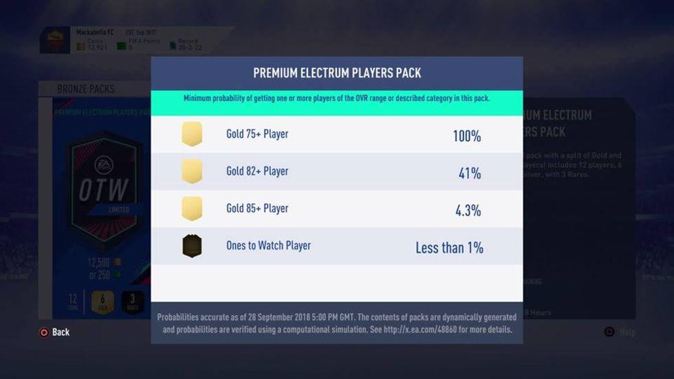 EA visar upp oddsen för paket i FIFA 19