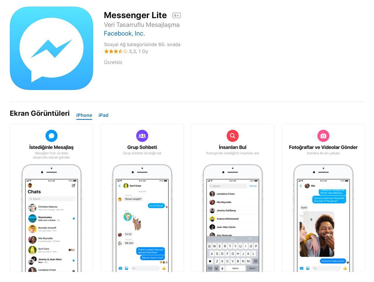 Messenger Lite dyker upp för iOS
