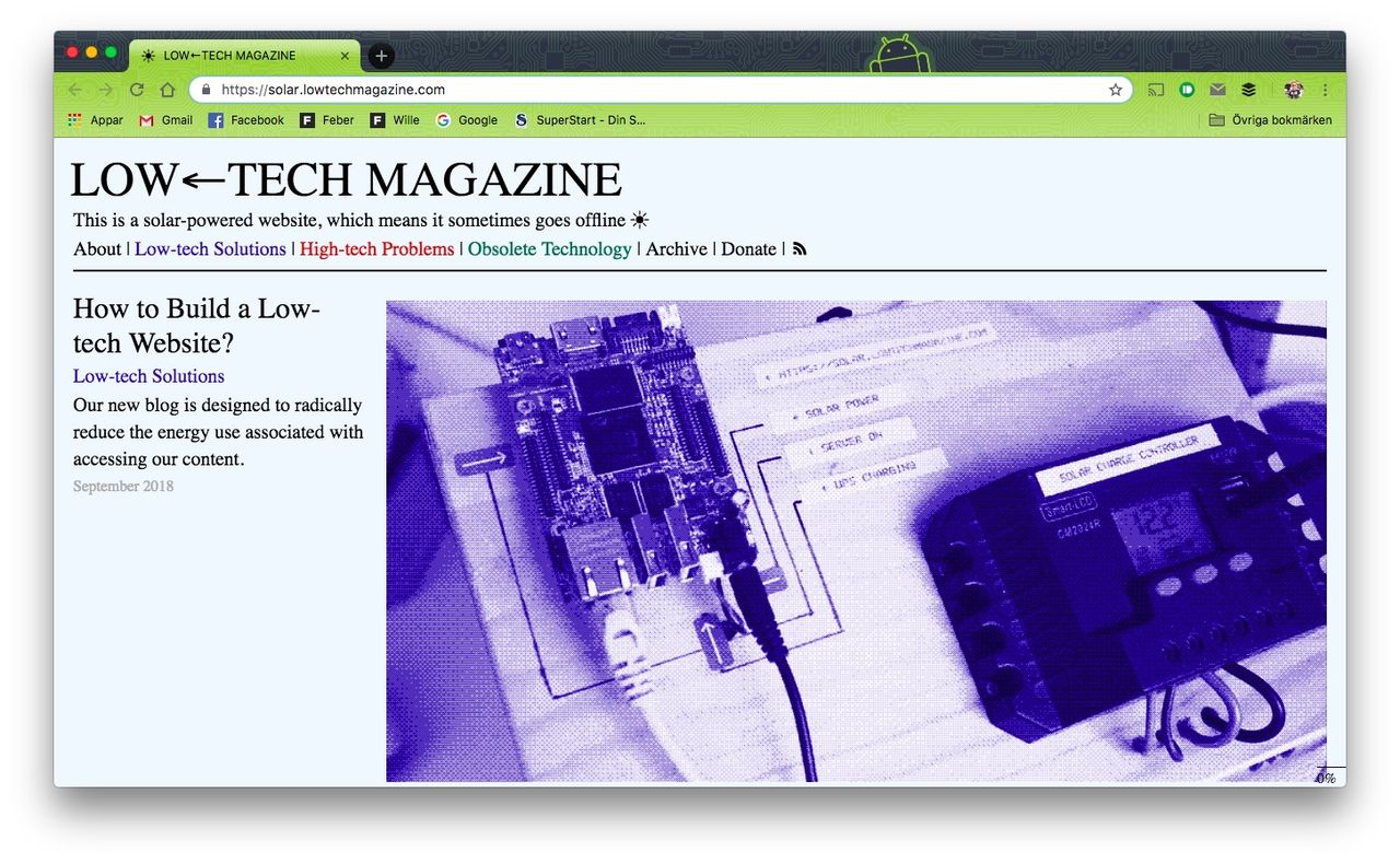 Low-Tech Magazines har en webbsida som drivs av solen