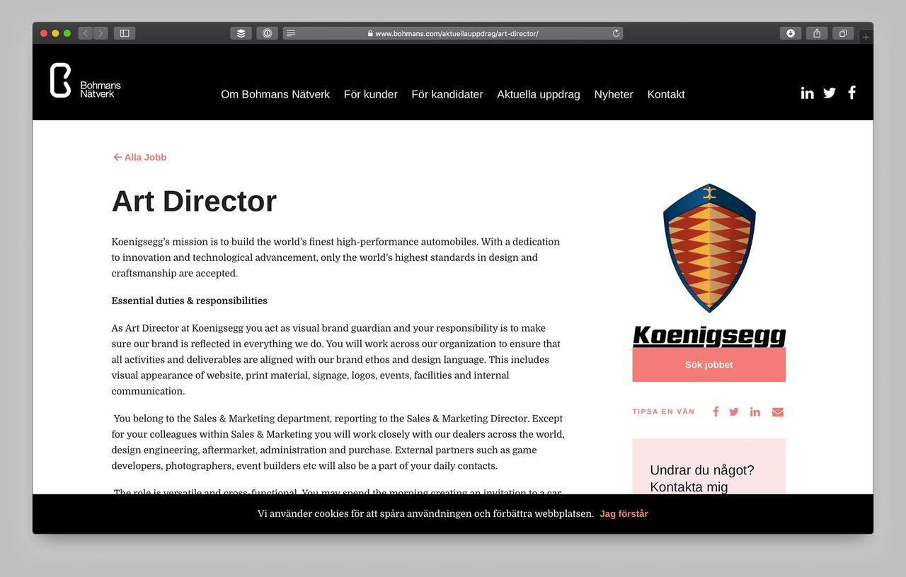 Vill du jobba som AD hos Koenigsegg?