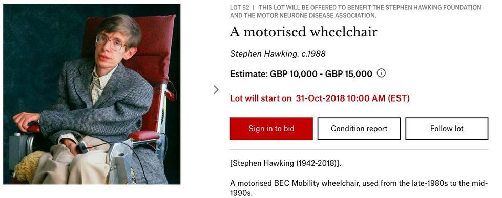 Stephen Hawkings rullstol säljs på auktion