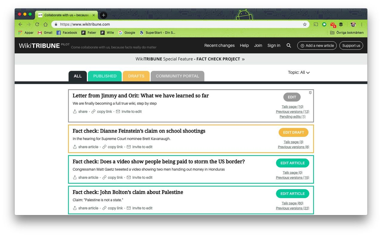 WikiTribune ändrar inriktning