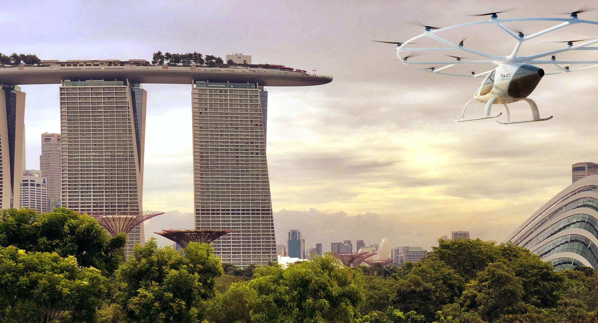 Volocopter ska testa autonom flygtaxi Singapore