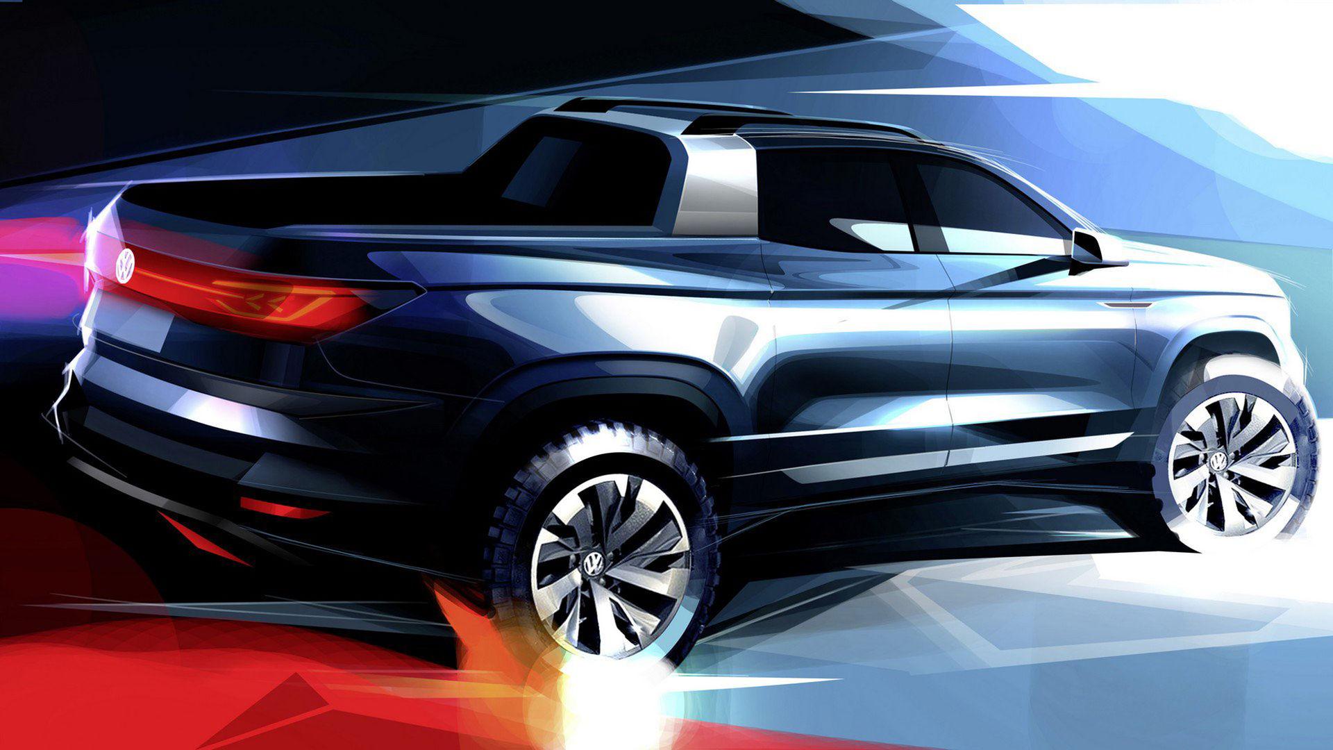 Volkswagen släpper teaserbild på mindre pickup