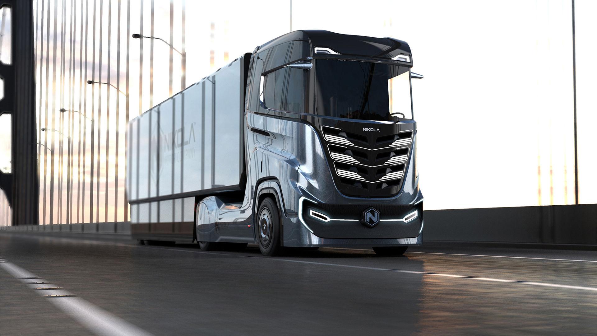 Nikola Motors visar den vätgasdrivna lastbilen Tre