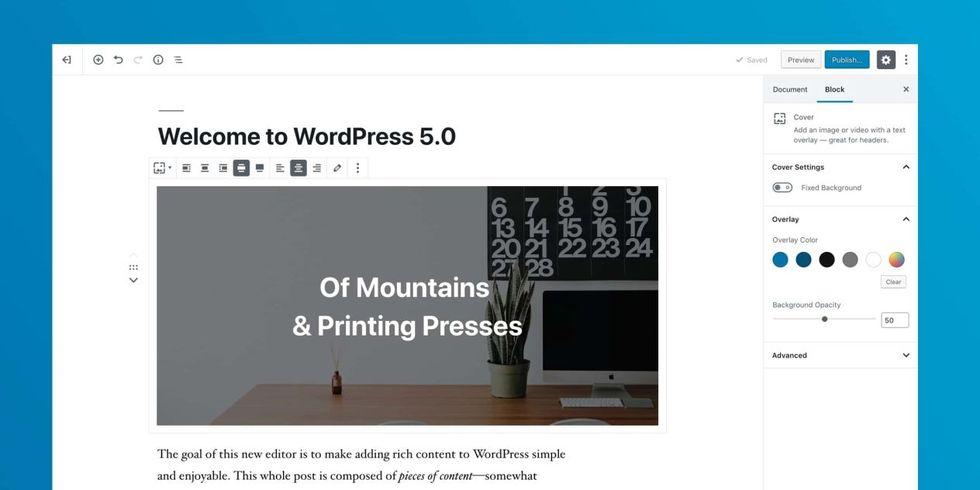 WordPress 5.0 är  släppt