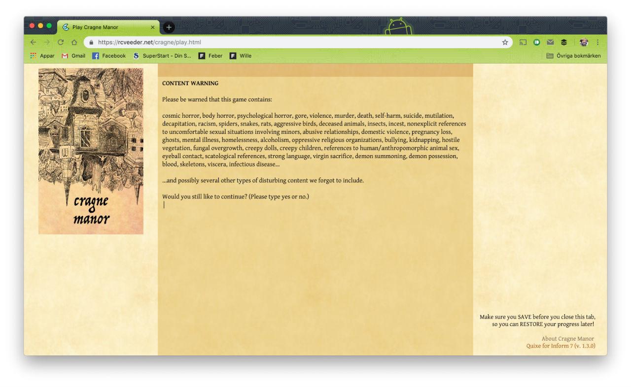 Cragne Manor är ett enormt stort textbaserat spel