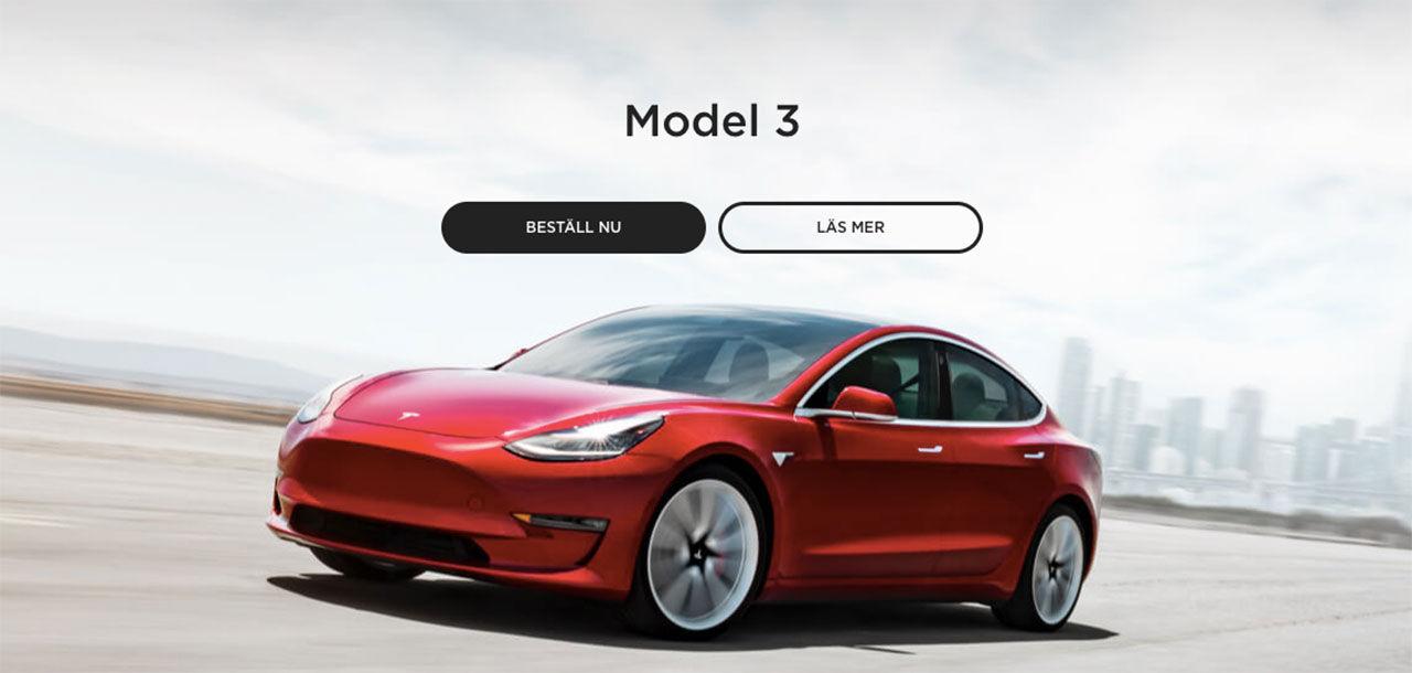Beställning av Tesla Model 3 nu möjligt för alla