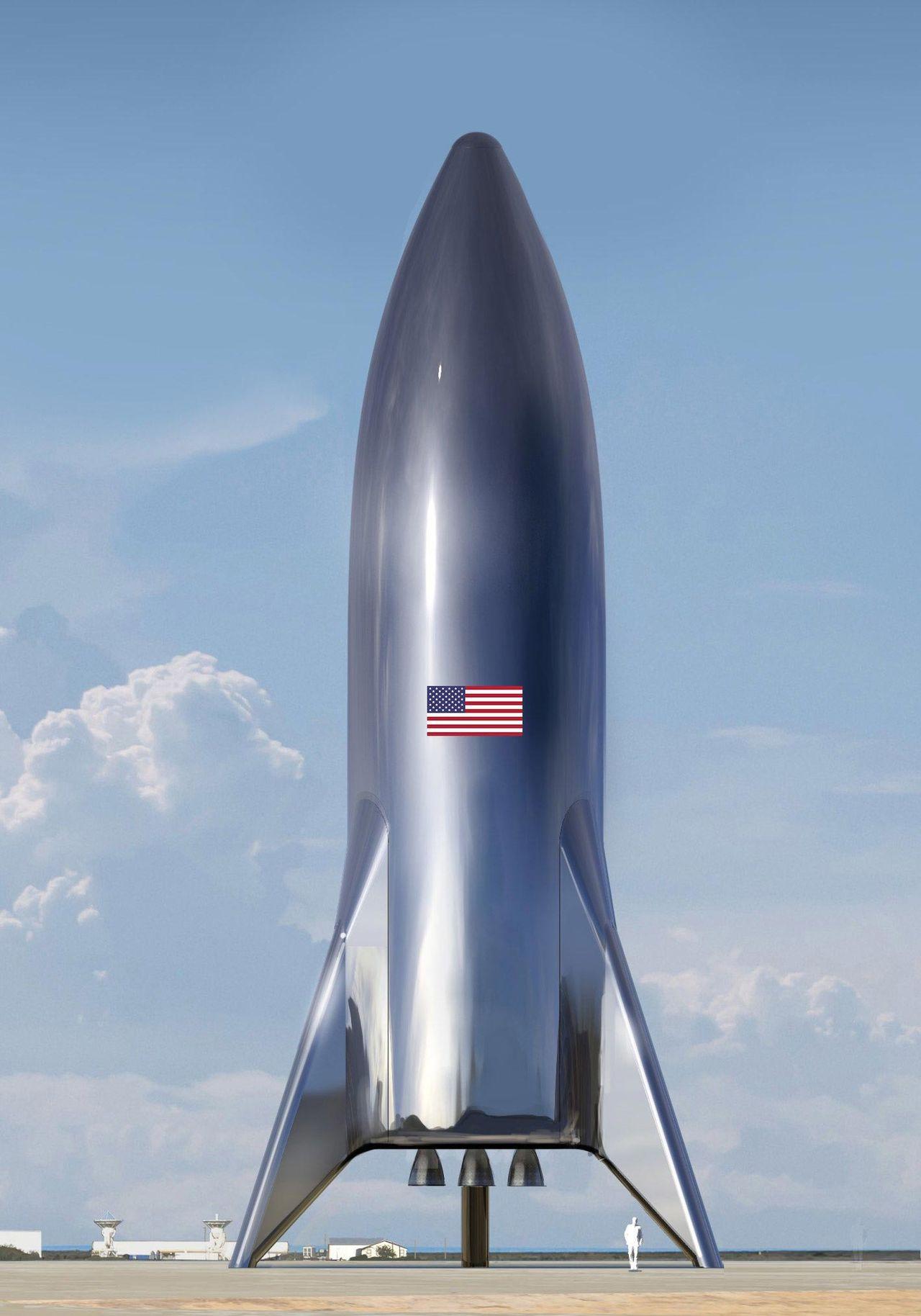 SpaceX visar illustration på Starship