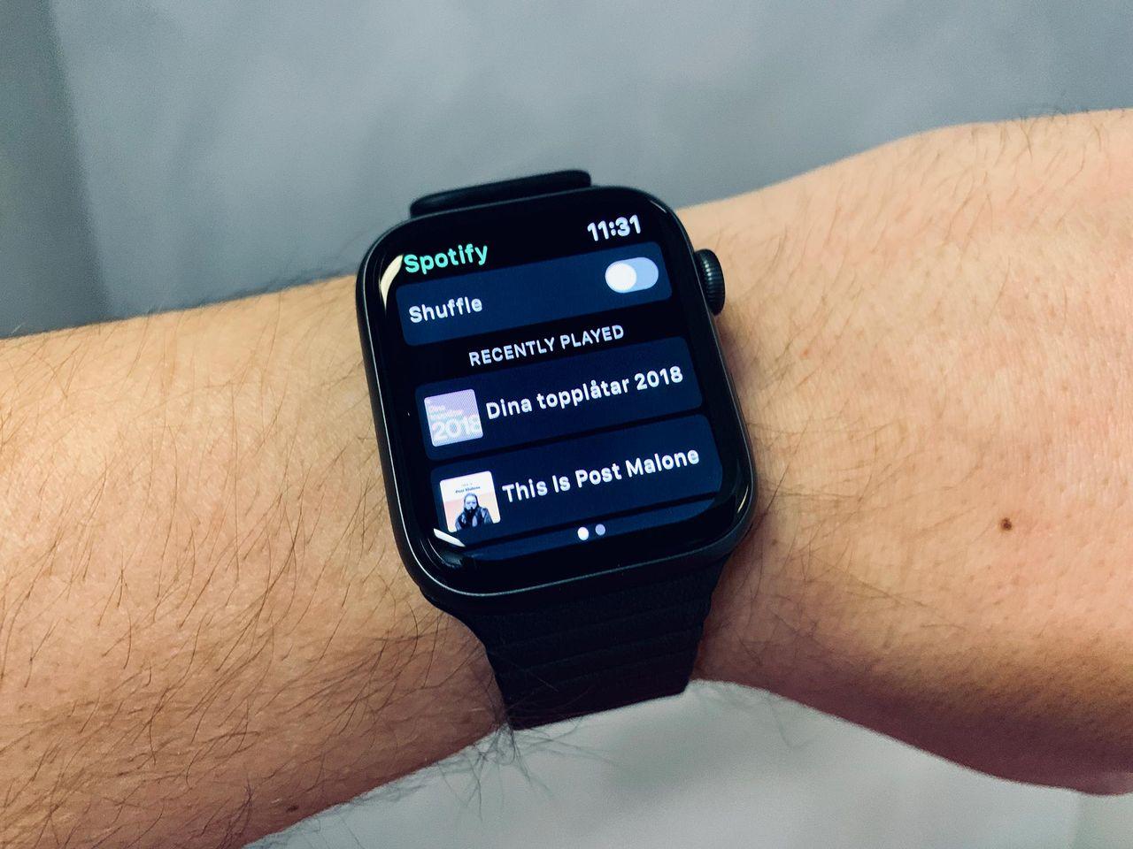 Spotify anpassat för iPhone XS Max och Apple Watch 4