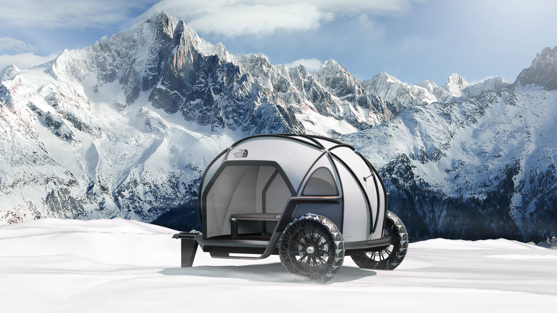 Liten husvagn från The North Face och BMW