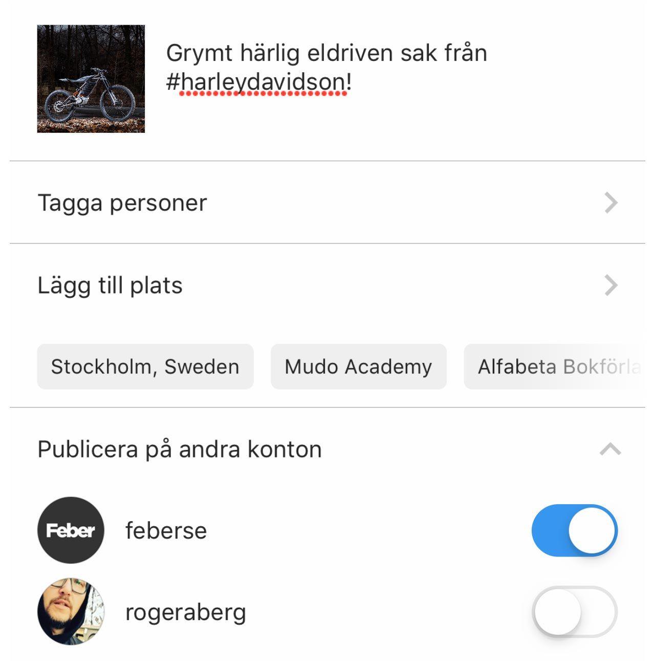 koppla ihop Instagram