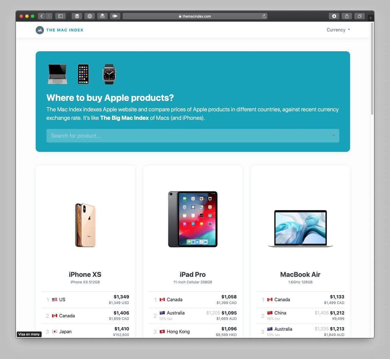 Index visar var Apples prylar är billigast