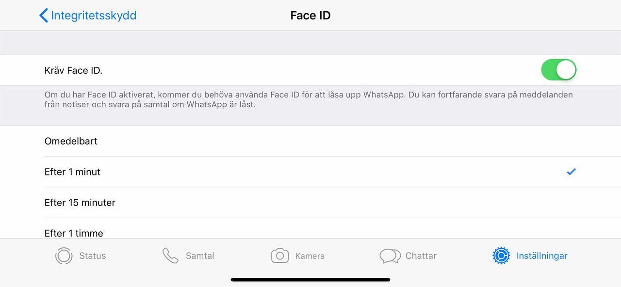 Skydda WhatsApp med FaceID/TouchID