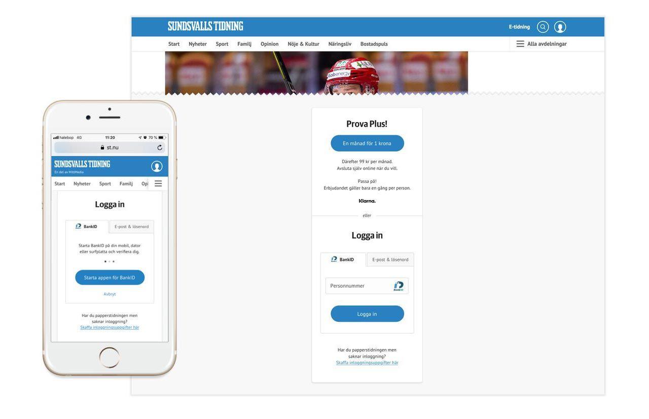 Mittmedia börjar med BankID-inloggning