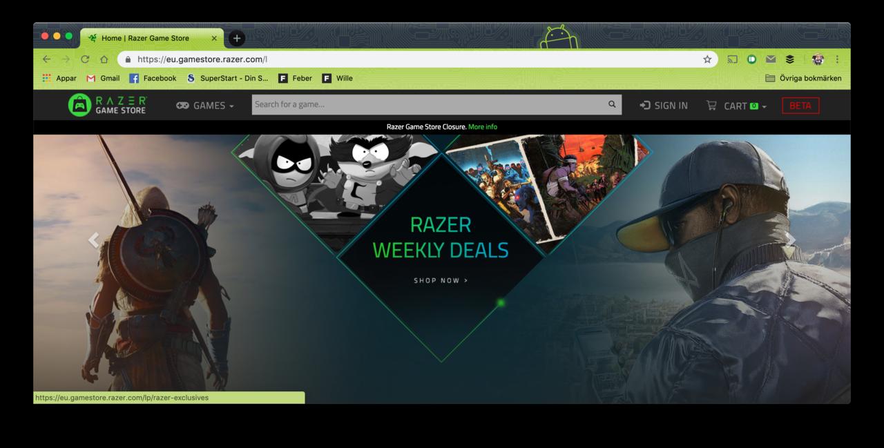 Hejdå Razer Game Store
