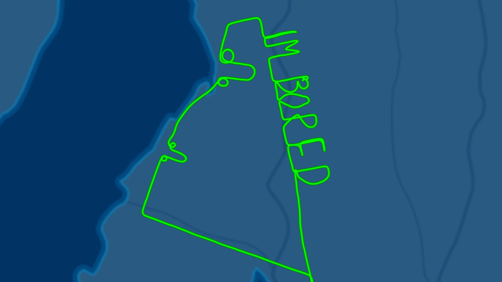 Uttråkad pilot ritar penisar i luften